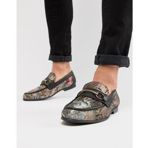 design loafers in floral print with snaffle - black marki Asos