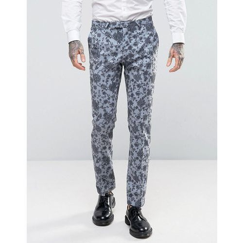 Noose & Monkey Super Skinny Wedding Suit Trousers In Floral - Blue
