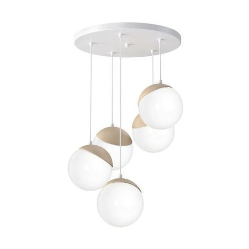 Milagro Sfera Wood MLP5426 lampa wisząca zwis 5x40W E14 biały mat / brązowy (5902693754268)
