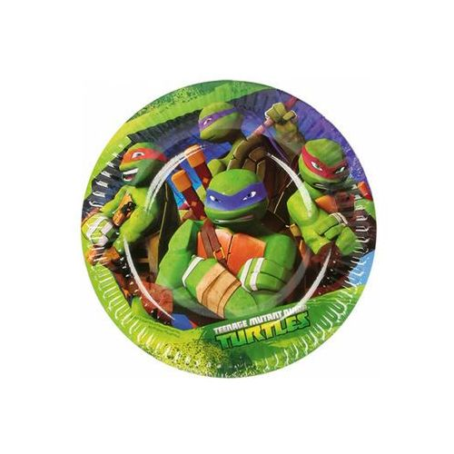 """Amscan Talerzyki papierowe """"żółwie ninja"""", , 18 cm, 8 szt (4009775472247)"""