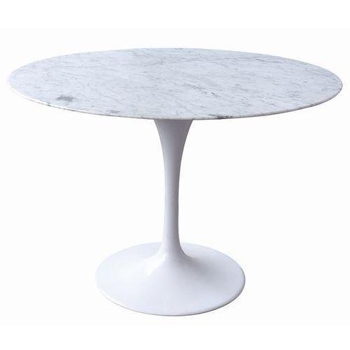 King home Stół tulip marble 120 biały - blat okrągły marmurowy, metal