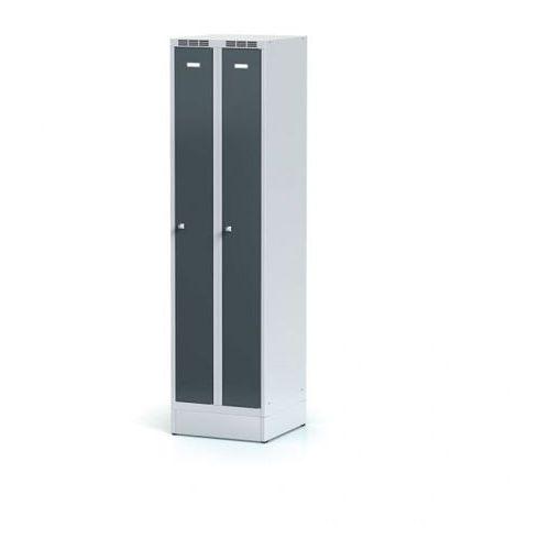 Alfa 3 Metalowa szafka ubraniowa, wąska, na cokole, antracytowe drzwi, zamek obrotowy