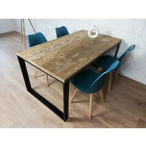 Reqube Industrialny stół metalowy reno 160/90 stare drewno szczotkowane