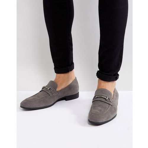 Asos design loafers in grey faux suede with snaffle detail - grey