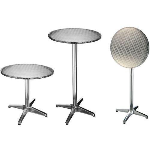 Hi składany stolik bistro, aluminiowy, okrągły, 60 x 60 x (58-115) cm