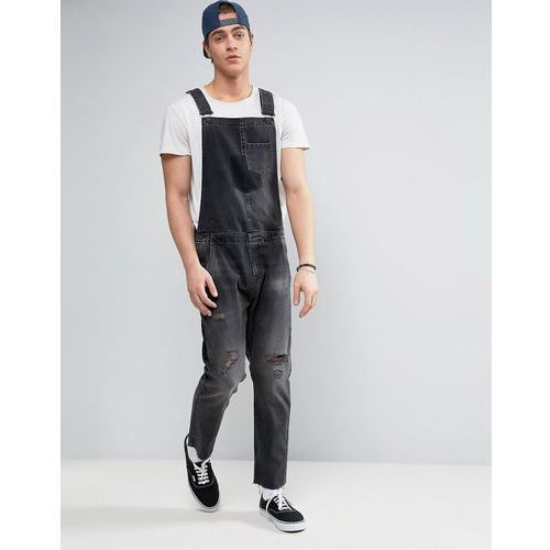 denim dungarees with rips and turn ups in washed black - black marki Asos