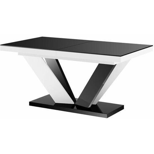 Stół rozkładany VIVA 2 160-256 czarno-biały mix połysk, HS-0211