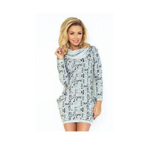 Sukienka model 135-1 grey wzór love, Numoco
