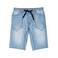 """Bermudy dżinsowe z elastycznym paskiem regular fit niebieski """"bleached marki Bonprix"""