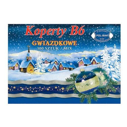 Koperta b6 z nadrukiem świątecznym 12 wzorów x100 marki Dystrybucja melior