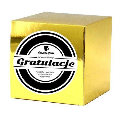 GRATULACJE - upominek podarunek z wiadomością zestaw z herbatą 100g