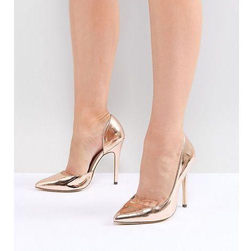 wide fit pointed high heels - gold marki London rebel