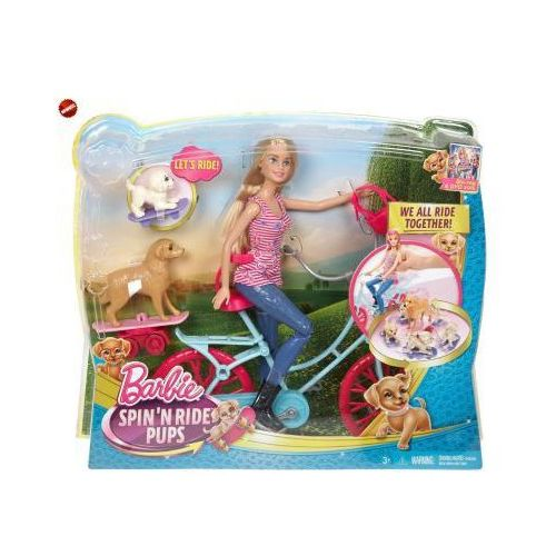 Barbie - Lalka Na Rowerze z Pieskami CLD94