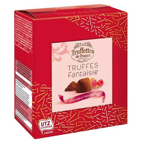 Gift Box trufle francuskie Malinowe 100g BEZ TŁUSZCZU PALMOWEGO czekoladowe trufle pistacjowe włoskie