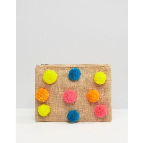 zip top pouch with pom poms - multi marki Glamorous