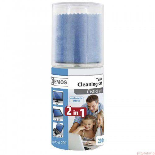Zestaw czyszczący do elektroniki Emos - płyn 200ml + ściereczka