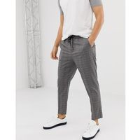 New look slim fit smart joggers in black check - black