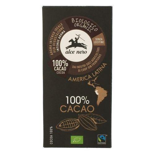 Alce nero (włoskie produkty) Czekolada, tabliczka gorzka 100% kakao ft bio 50 g alce nero (8009004811812)
