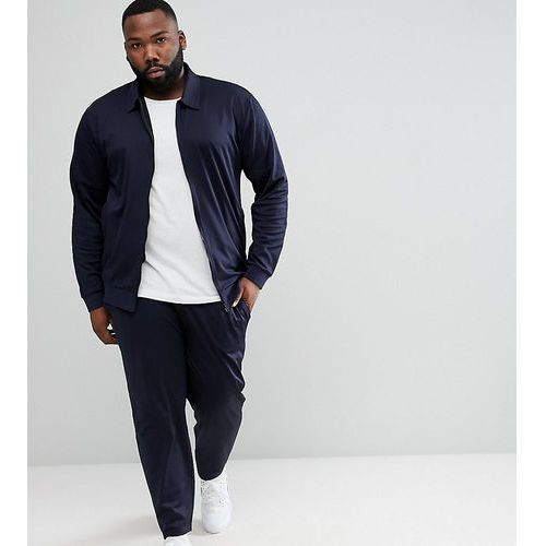 ASOS PLUS Retro Tracksuit Harrington Jersey Jacket/Skinny Joggers In Navy - Navy