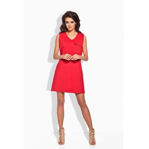 L122 czerwona sukienka, kolor czerwony