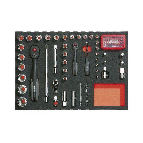 Zestaw narzędzi we wkładce z miękkiej gąbki,narzędzia do uruchamiania ¼'' + ½'' marki Vigor