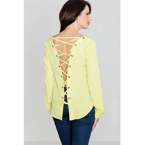 Modna żółta bluzka z dekoltem