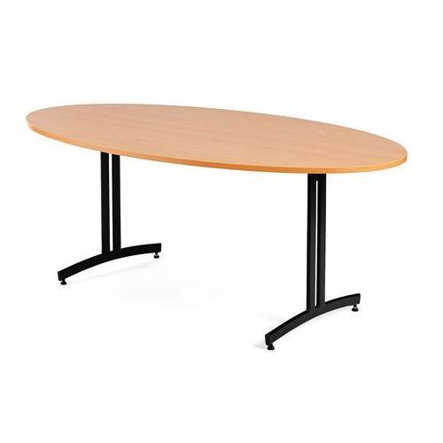 Stół do stołówki SANNA, owalny, 1000x1800 mm, laminat, buk, czarny, 107102