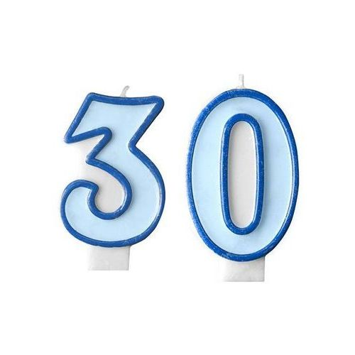 Świeczki cyferki błękitne - 30 - trzydziestka - 2 szt.