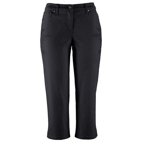 Spodnie z dżerseju z wygodnym paskiem bonprix czarny z nadrukiem, w 2 rozmiarach