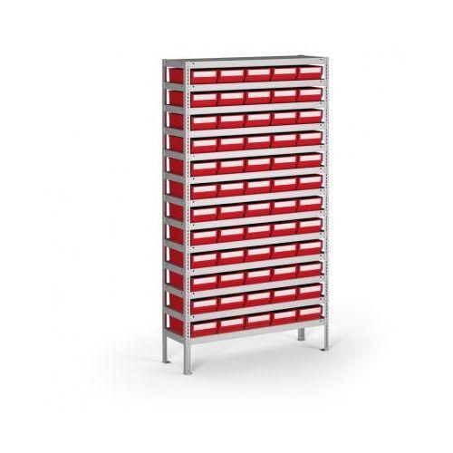 B2b partner Regał z pojemnikami plastikowymi shelfpoj., 2000x1000x400 mm, 60x poj. e
