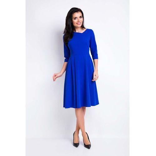 Niebieska Sukienka Rozkloszowana Midi z Asymetrycznym Dekoltem, w 4 rozmiarach