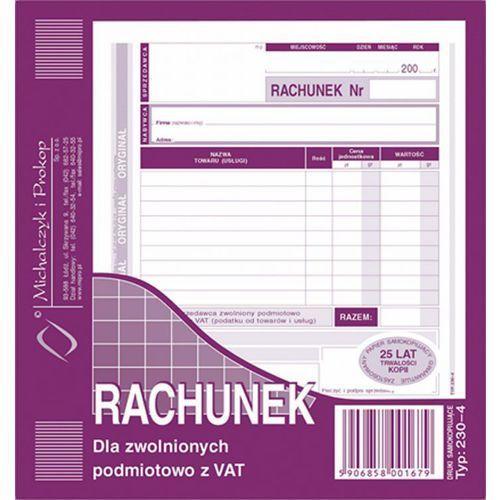 Rachunek dla zwol. podmiot. z Vat Michalczyk&Prokop 230-4 - A5 (oryginał+kopia)