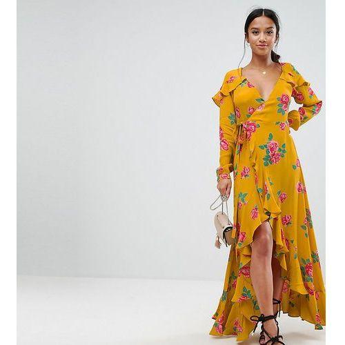 long sleeve wrap maxi dress in bold floral - yellow, Asos petite