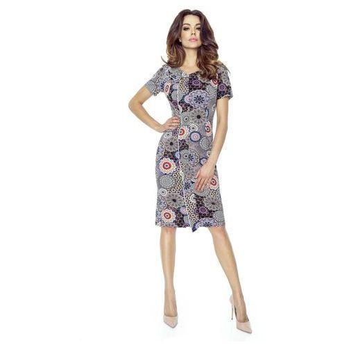 Sukienka Elegancka Mini z Plisą - Mozaika, B55-06mozaika