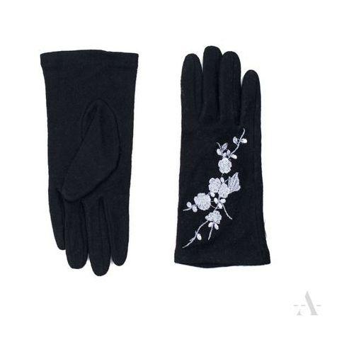 Szykowne czarne rękawiczki damskie z haftowanymi srebrnymi kwiatkami - czarny   srebrny