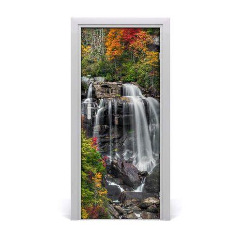 Naklejka na drzwi samoprzylepna wodospad jesienią marki Tulup.pl
