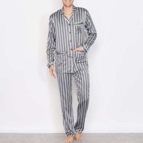 Satynowa piżama w paski z długim rękawem