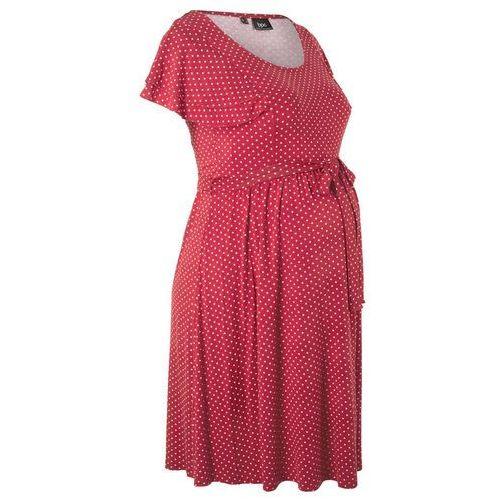 Sukienka ciążowa czerwono-pomarańczowy w groszki marki Bonprix