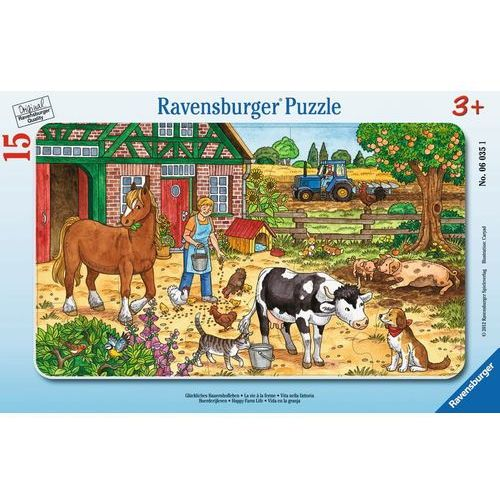 Ravensburger puzzle w ramie szczęsliwe życie na farmie 15 elementów 06035
