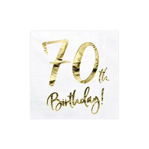 SERWETKI 70th BIRTHDAY BIAŁE 20szt, #A194^wf