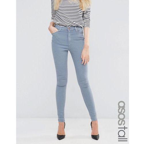 ASOS TALL Ridley High Waist Skinny Jeans in Nevaeh Grey - Blue, kolor niebieski