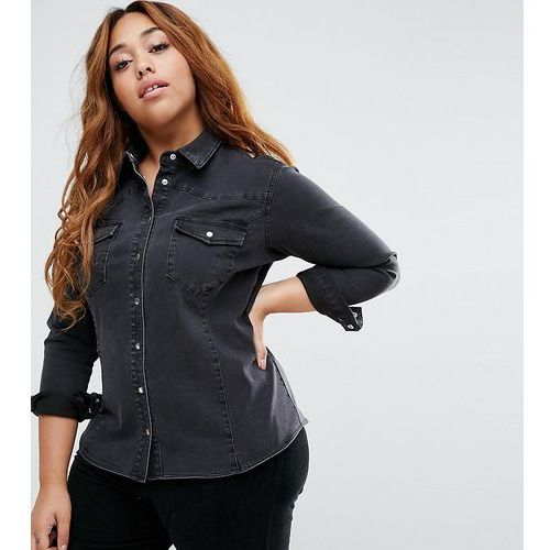 Asos curve  denim fitted western shirt in washed black - black