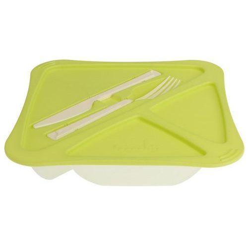 4home Plastikowe pudełko obiadowe ze sztućcami frooshi, 22 x 22 cm