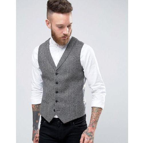 woven in england super skinny shawl lapel waistcoat - grey wyprodukowany przez Noose & monkey