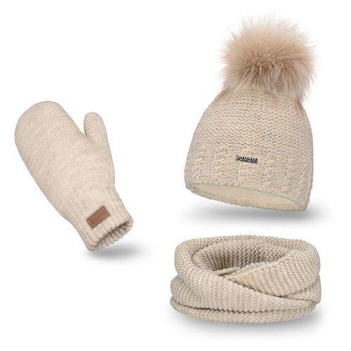 OKAZJA - Komplet PaMaMi, czapka, komin i rękawiczki - Beżowy - Beżowy
