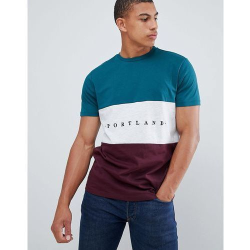 New Look colour block t-shirt with portland embroidery in green - Green