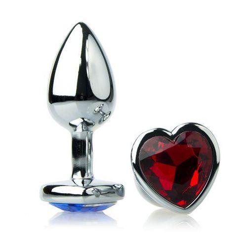 Korek analny z diamentem w serce 4x9cm stalowy