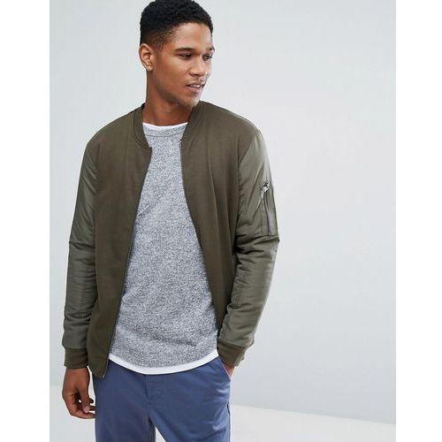 contrast sleeve bomber sweat - green marki Threadbare