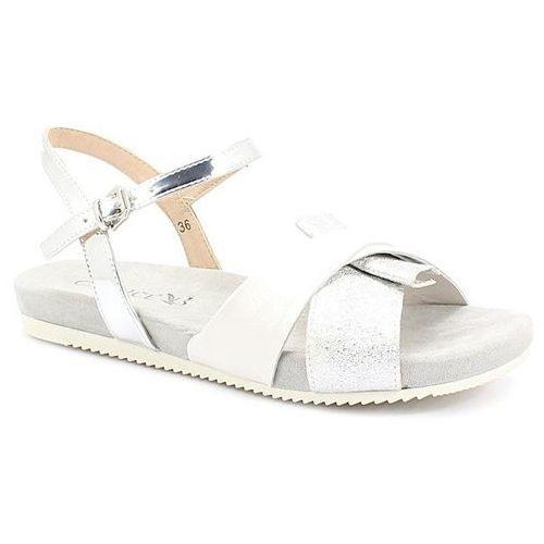 CAPRICE 9-28109-22 BIAŁO-SREBRNE - Wygodne sandały, kolor biały