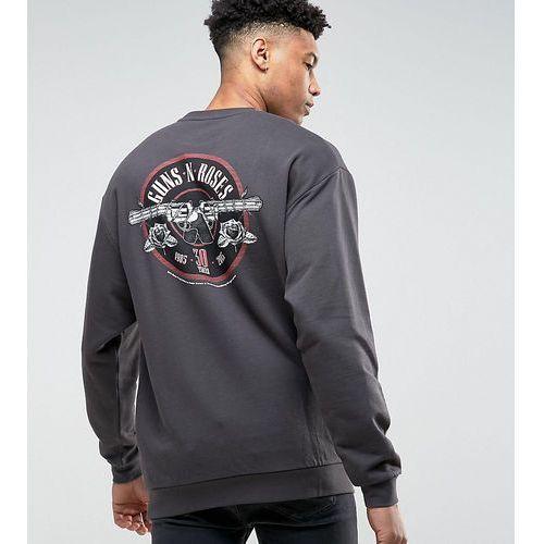 tall oversized sweatshirt with ripped neck & guns n roses print - black marki Asos